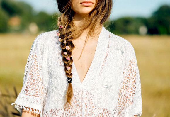 Low side-braid hair style